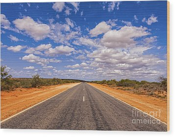 Long Straight Road Australia Outback Wood Print
