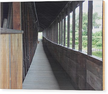 Long Walkway In Covered Bridge Wood Print by Catherine Gagne