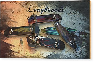 Longboards Wood Print by Louis Ferreira