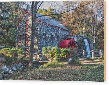 Longfellow's Wayside Inn Grist Mill In Autumn Wood Print by Jeff Folger