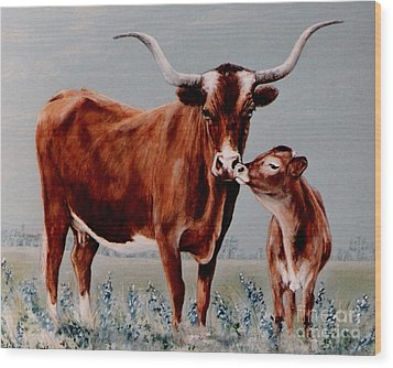Longhorn Cow And Calf Wood Print by DiDi Higginbotham