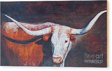 Wood Print featuring the painting Longhorn Legacy by Karen Kennedy Chatham
