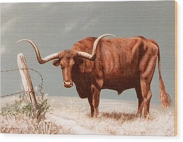 Wood Print featuring the painting Longhorn Steer by DiDi Higginbotham