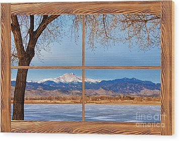 Longs Peak Across The Lake Barn Wood Picture Window Frame View Wood Print by James BO  Insogna