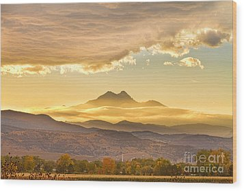 Longs Peak Autumn Sunset Wood Print
