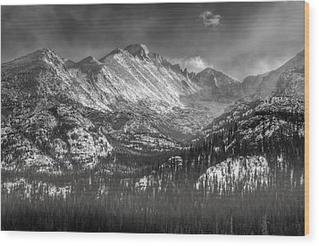 Longs Peak Rocky Mountain National Park Black And White Wood Print by Ken Smith