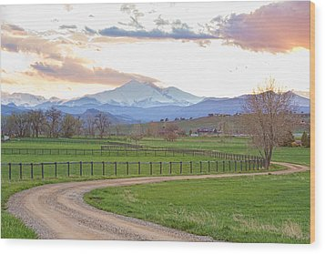 Longs Peak Springtime Sunset View  Wood Print by James BO  Insogna