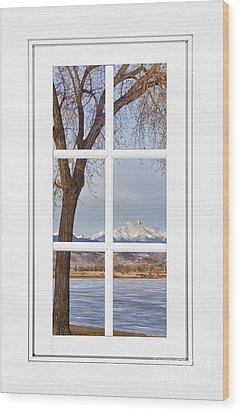 Longs Peak Winter View Through A White Window Frame Wood Print by James BO  Insogna