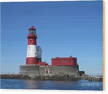 Longstone Lighthouse Wood Print by David Grant