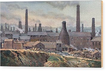 Longton Pot Works Wood Print by Anthony Forster