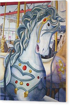 Looff Carousel Wood Print by Daydre Hamilton