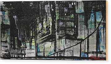Look Up Manhattan At Night Wood Print by Jack Diamond