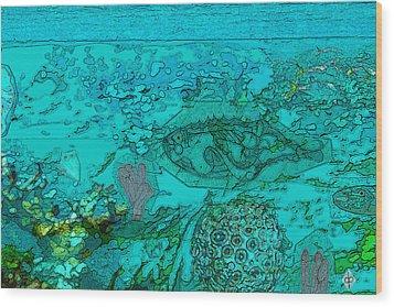 Wood Print featuring the drawing Lookbucket by Doug Petersen