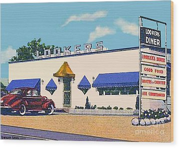 Lookers Diner In Rutland Vt Around 1940 Wood Print