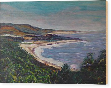 Looking Down On Half Moon Bay Wood Print by Carolyn Donnell
