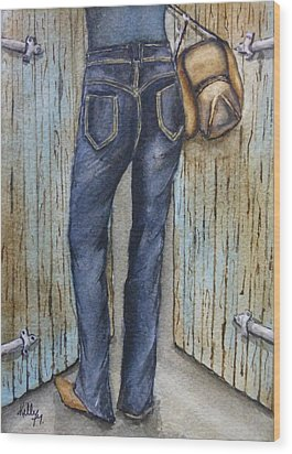 Wood Print featuring the painting Blue Jeans A Hat And Looking Good by Kelly Mills
