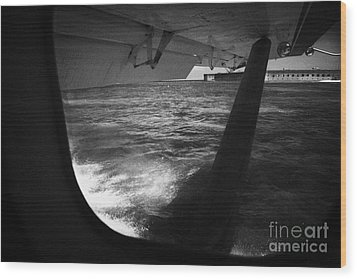 Looking Out Of Seaplane Window Landing On The Water Next To Fort Jefferson Garden Key Dry Tortugas F Wood Print by Joe Fox