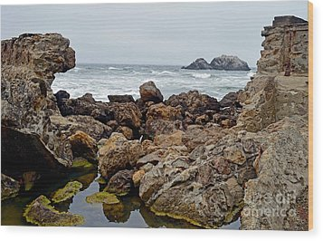 Looking Out On The Pacific Ocean From The Sutro Bath Ruins In San Francisco IIi Wood Print by Jim Fitzpatrick