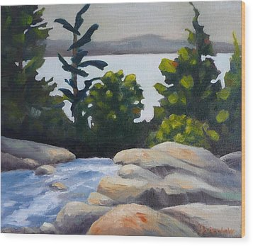 Wood Print featuring the painting Looking Out Over Rosseau Falls by Jo Appleby