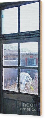 Wood Print featuring the photograph Looking Out The Kitchen Door In February by Ethna Gillespie