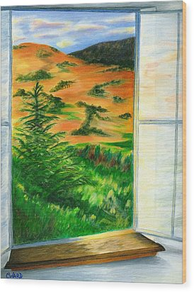Looking Out The Window Wood Print by Colleen Ward