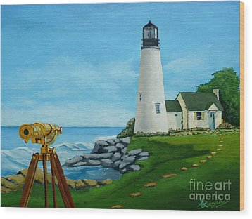 Looking Out To Sea Wood Print by Anthony Dunphy