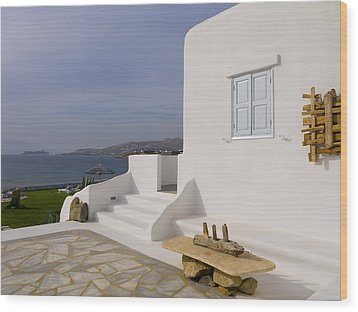 Looking Out To Sea In Mykonos Wood Print