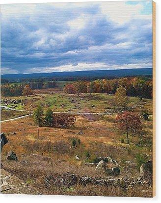 Looking Over The Gettysburg Battlefield Wood Print