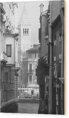 Looking Through To A View Venice Wood Print by Dorothy Berry-Lound
