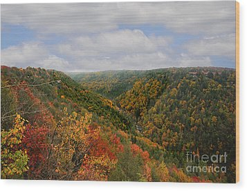 Looking Upriver At Blackwater River Gorge In Fall From Pendleton Point Wood Print