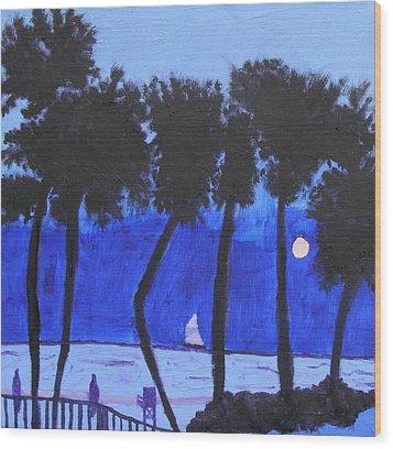 Looming Shore At Night Wood Print