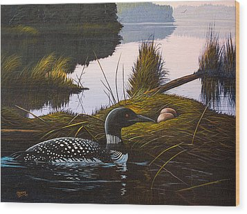 Wood Print featuring the painting Loon Lake by Richard Faulkner