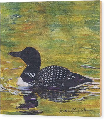 Wood Print featuring the painting Loon On Jordon Pond Maine by Susan Herbst