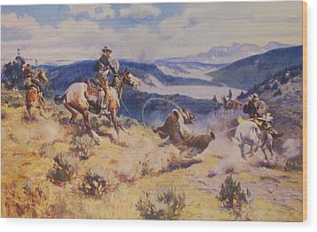 Loops And Swift Horses Are Surer Then Lead Wood Print by Charles Russell