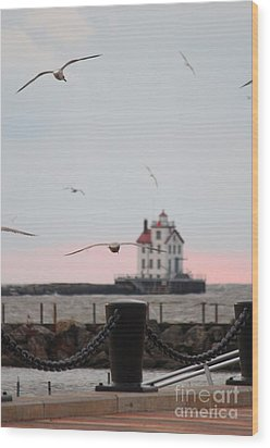 Lorain Lighthouse With Gulls Wood Print