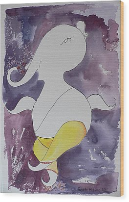 Wood Print featuring the painting Lord Ganesha by Geeta Biswas