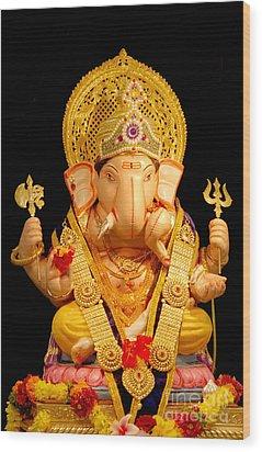 Lord Ganesha Wood Print by Kiran Joshi