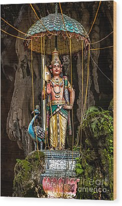 Lord Murugan Statue Wood Print by Adrian Evans