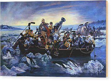 Lord Stanley And The Penguins Crossing The Allegheny Wood Print
