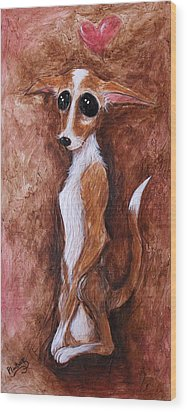 Wood Print featuring the painting Loretta Chihuahua Big Eyes  by Patricia Lintner