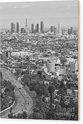 Los Angeles Basin And Los Angeles Skyline Black And White Monochrome Wood Print