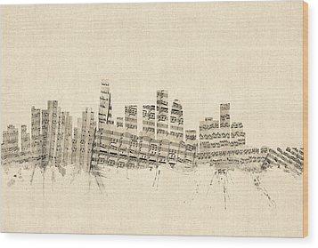 Los Angeles California Skyline Sheet Music Cityscape Wood Print