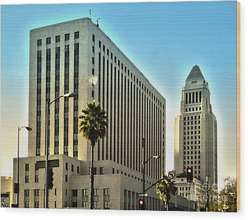 Los Angeles City Hall Wood Print by Gregory Dyer