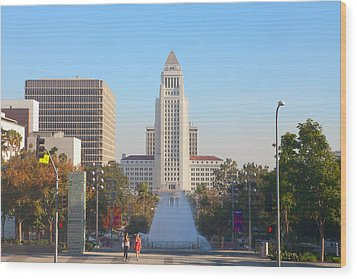 Wood Print featuring the photograph Los Angeles City Hall by Ram Vasudev