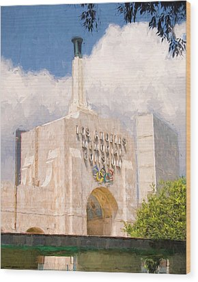 Wood Print featuring the painting Los Angeles Coliseum by Ike Krieger