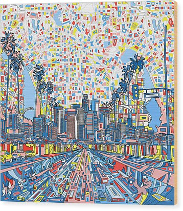 Los Angeles Skyline Abstract 3 Wood Print