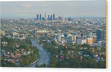 Wood Print featuring the photograph Los Angeles Skyline And Los Angeles Basin Panorama by Ram Vasudev