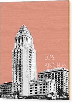 Los Angeles Skyline City Hall - Salmon Wood Print by DB Artist