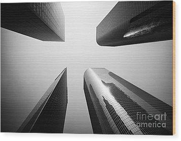 Los Angeles Skyscraper Buildings In Black And White Wood Print by Paul Velgos
