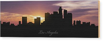 Los Angeles Sunset Wood Print by Aged Pixel